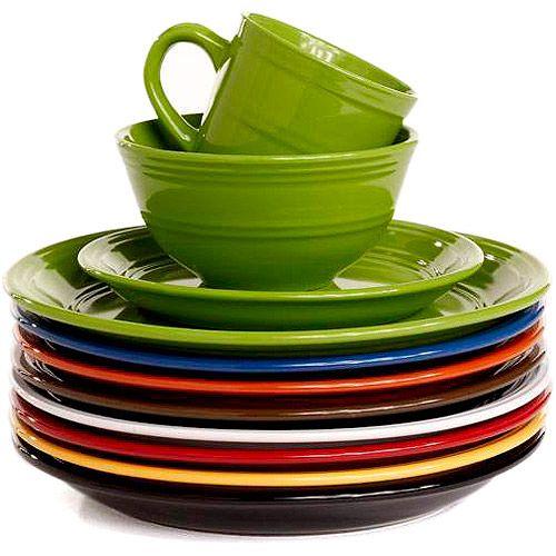 Mainstays 16 Piece Stoneware Dinnerware Set Assorted Colors 25 Per Set Green Blue Yellow