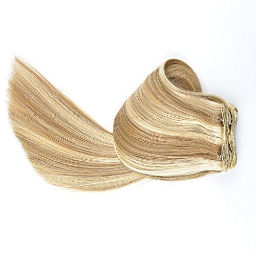 """Tressmatch® 20""""-22"""" Remy (Remi) Human Hair Clip in Extensions Brown Blonde Highlights (Color #12/613) 9 Pieces(pcs) Full Head [Set Weight:4.4s/125grams"""