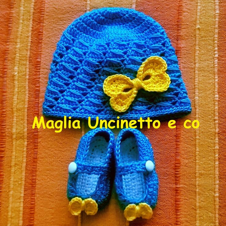 Completino neonata #cappellino #neonata #uncinetto #scarpine #crochet #newborn #hat #shoes