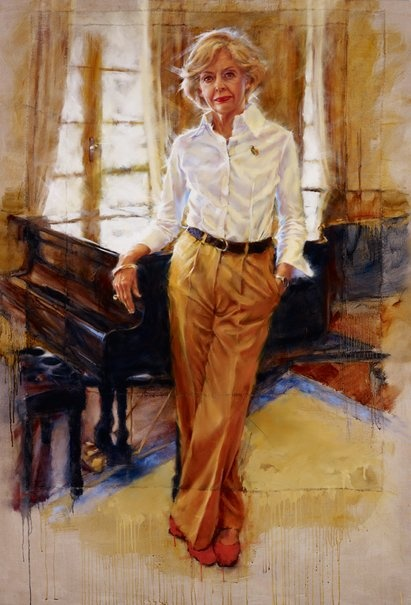 """Barbara Tyson's """"The country's woman: Her Excellency, Ms Quentin Bryce AC, Governor-General of Australia"""" Oil on raw French linen. 2011 Archibald Prize finalist."""