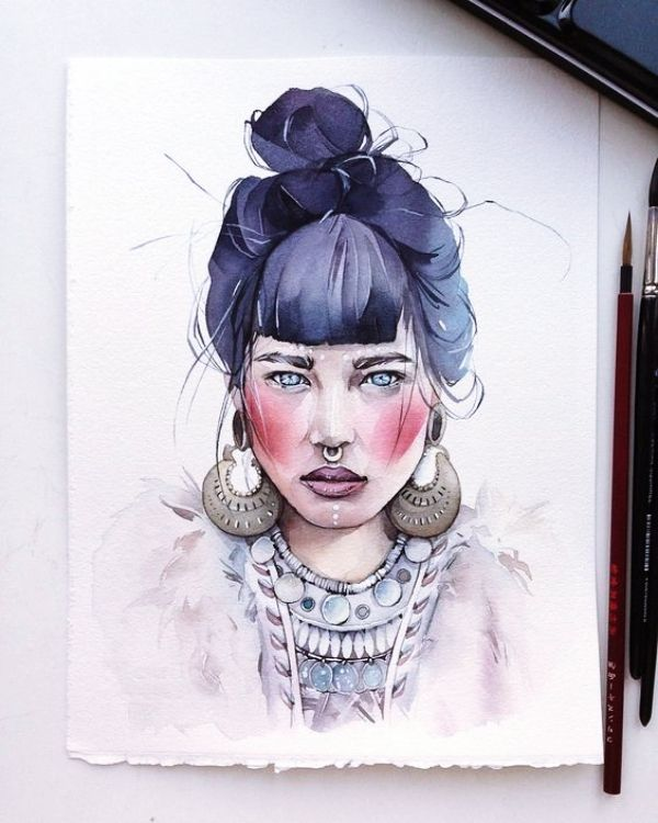 40 Realistic Watercolor Portrait Illustrations And Paintings