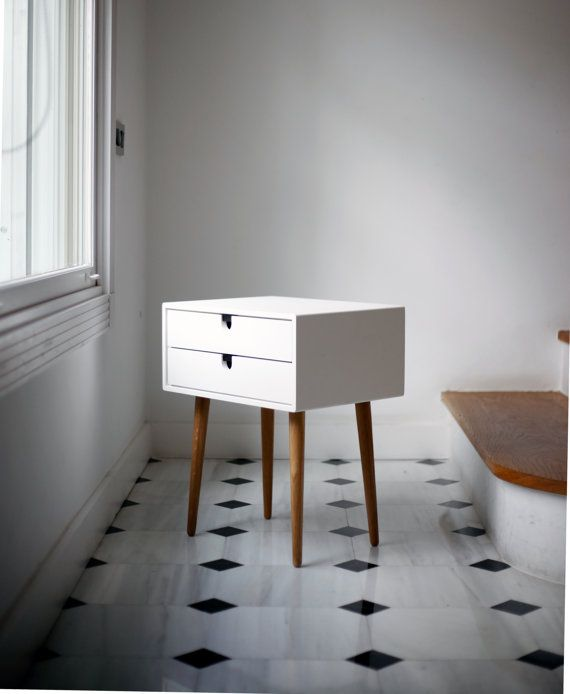 Table / Bedside Table White Style MidCentury Modern by Habitables