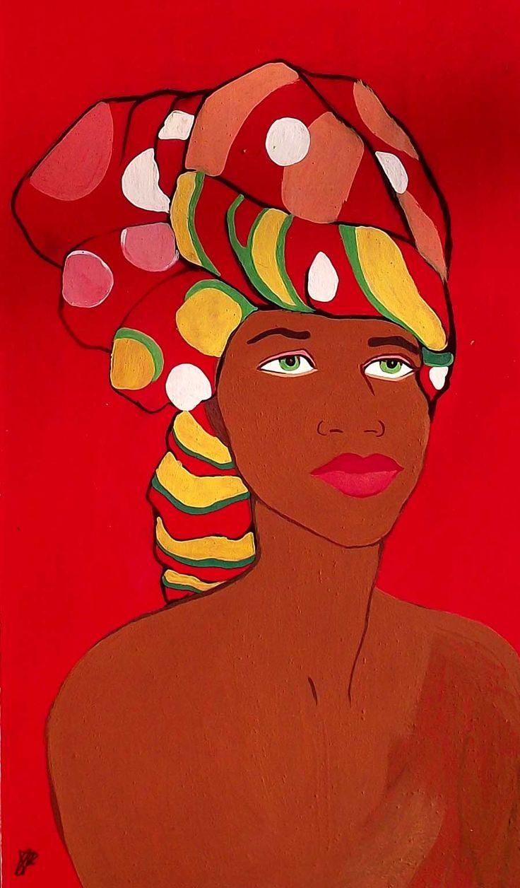Mujer africana con un turbante en la cabeza, una tela de colores y dibujos africanos. Fondo rojo.