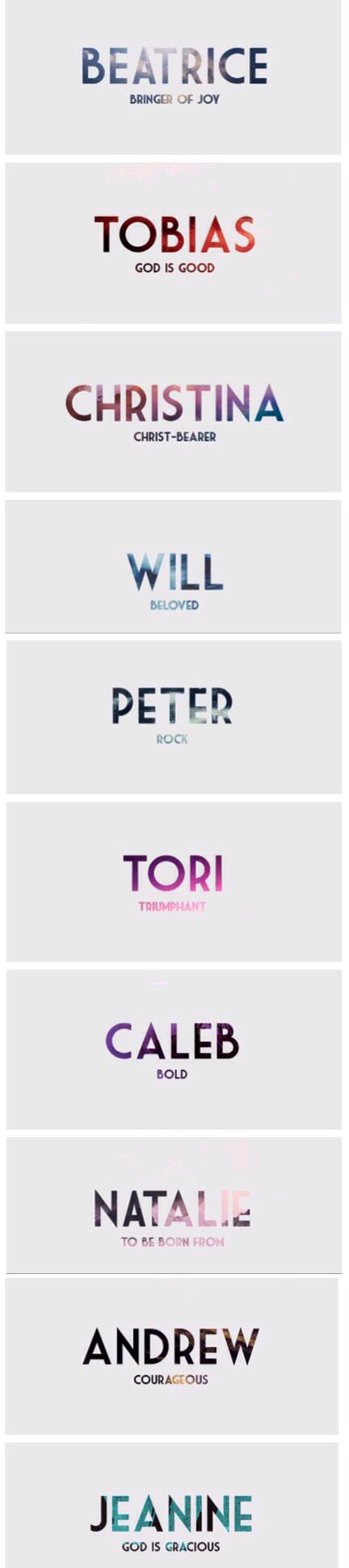 Name meanings ~Divergent~ ~Insurgent~ ~Allegiant~