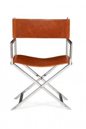 leather on stainless steel director's chair