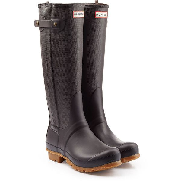 Hunter Tall Wellington Boots with Zipper ($185) ❤ liked on Polyvore