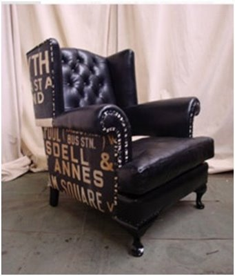 This 1920's wingback chair in Italian leather has had its back and sides covered lined vintage English linen bus destination roll, circa 1940's. From davidmetnicole.com, sold for 4200.00!: Linen Bus, Antique Chairs, English Linen, Wingback Chairs, Beautiful Chairs, Destination Roll
