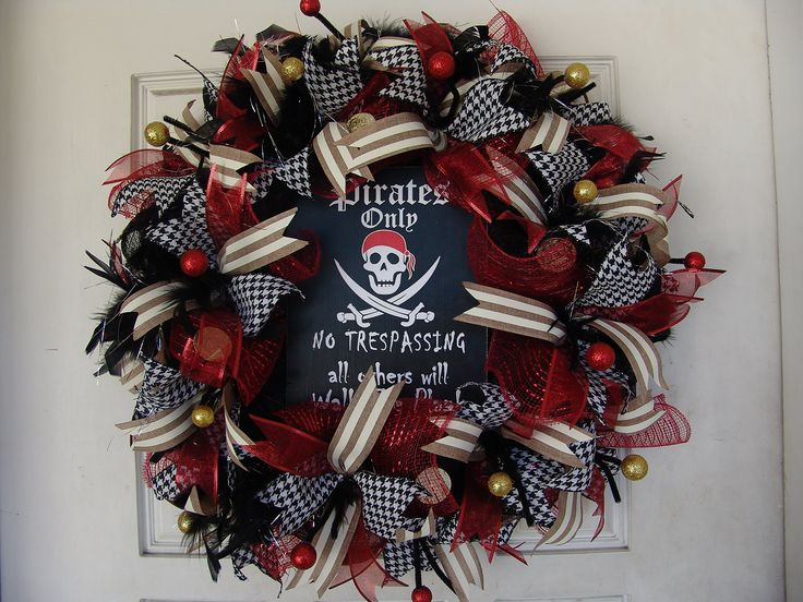 """Deluxe Pirate Skeleton Skull Crossbones Pirates Only Themed Deco Mesh Wreath, Gift, Door, Caribbean, Crossbones, Gasparilla. This is a really cool pirate wreath. If you're looking for more variety, I have many other pirate wreaths up for sale to choose from. It's made and ready to ship! It's approximately 27"""" in diameter. Perfect for the Tampa Florida Gasparilla Pirate Festival, Halloween, Pirate parties, bedroom decor and more! Sign says """"Pirates Only, All Others Will Walk the Plank""""...."""