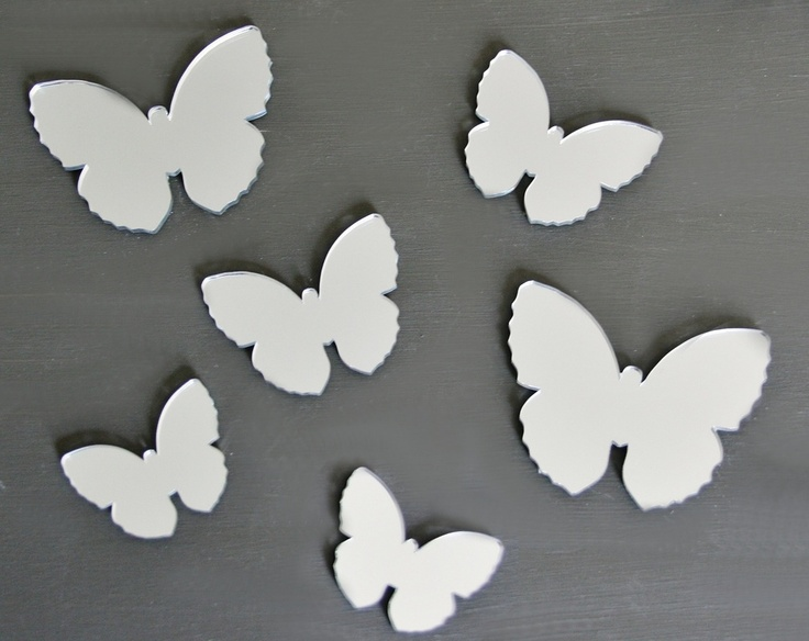 Butterfly set of 6 acrylic mirrors, B-fly 9cm X 7.5, 7cm X 5.5cm, 5.5cm X4cm (2 of each size). Available from our online store for $16.95 + postage. Cut from a high quality lightweight 3mm acrylic - Can be hung with Blu-tack.
