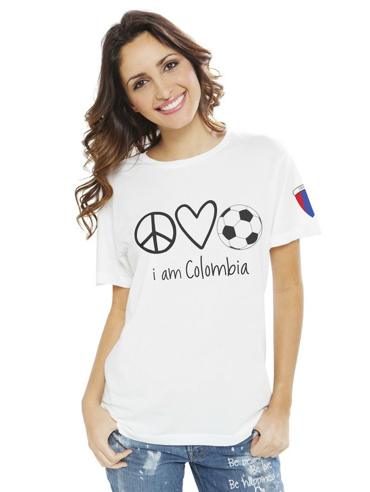 I am Colombia Peace Love Soccer White Crew Neck Unisex Tee. World Cup Spirit. #brazil2014