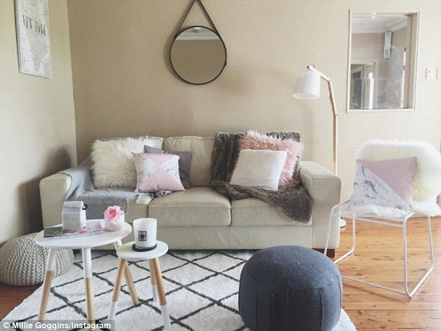 Soft colour palette: The interior design student said about 80 per cent of the pieces in her home were from Kmart