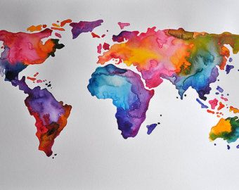 Best 25 world map painting ideas on pinterest 3 piece wall art original abstract world map watercolor painting by artcornershop sciox Images