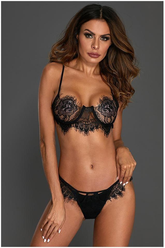 54eb817d85f08 Stylish Vovo Eyelash Lace 2pcs Lingerie Set in 2019 | Women Sexy ...