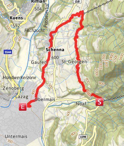 Karte / Schenner und Maiser Waalweg (Rundwanderung)