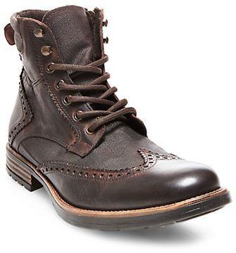 Steve Madden Gastonn Wing-Tip Leather Ankle Boots