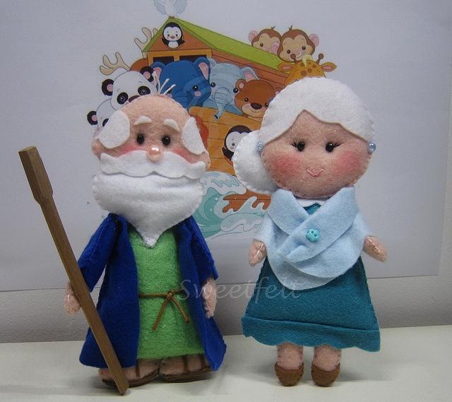 ♥♥♥ Começando uma arca de Noé! Que vos parece o meu Sr. Noé e esposa? by sweetfelt  ideias em feltro, via Flickr