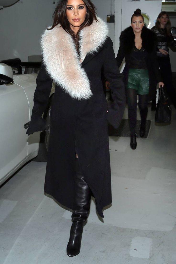 Kim Kardashian Loving Her Coat My Style Pinterest Kim Kardashian Everything And Black Coats