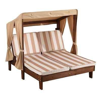 Kids Double Chaise Lounge Patio Chair Canopy Outdoor Furniture   Oatmeal  Stripes