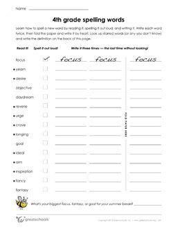 4th grade spelling words (list #36 of 36) - Worksheets & Activities   GreatSchools