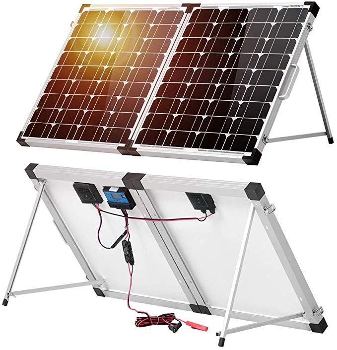 Amazon Com Dokio 100 Watt 12 Volt Monocrystalline Foldable Portable Solar Suitcase With Waterproof Charge Controller For Caravan Rv Boat Camper Eco Roulotte
