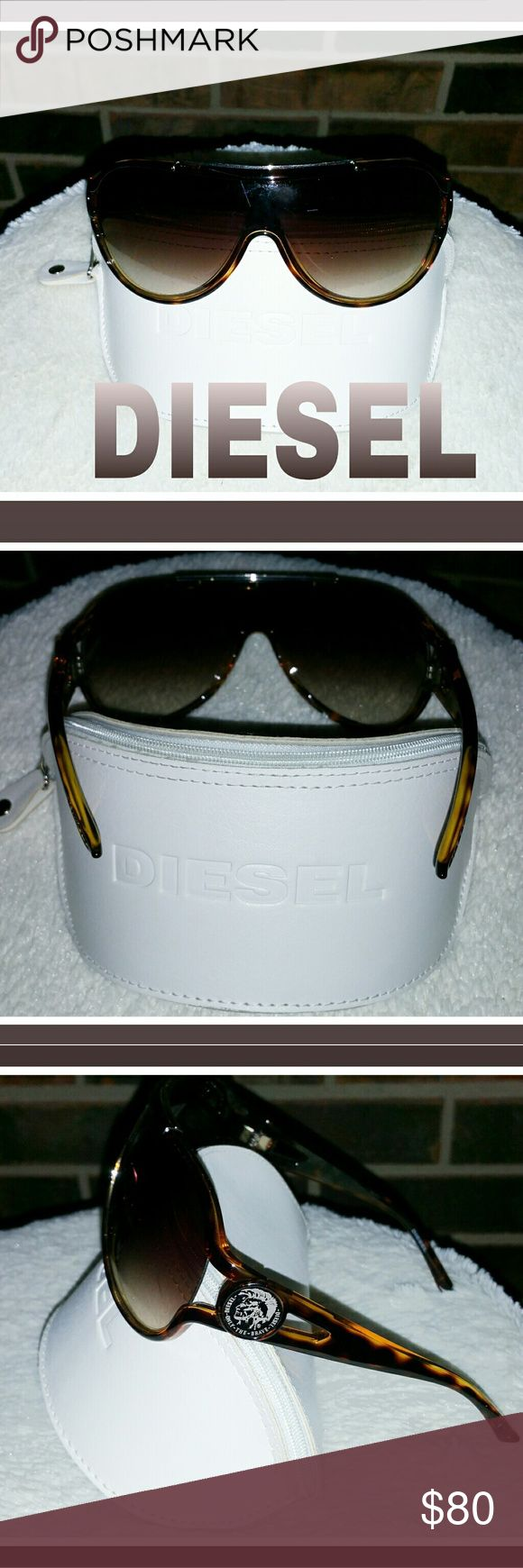 Diesel Brand Men's Sunglasses Diesel Brand Brown Tortise Shell Large Sunglasses. Comes with Case. Diesel Accessories Sunglasses