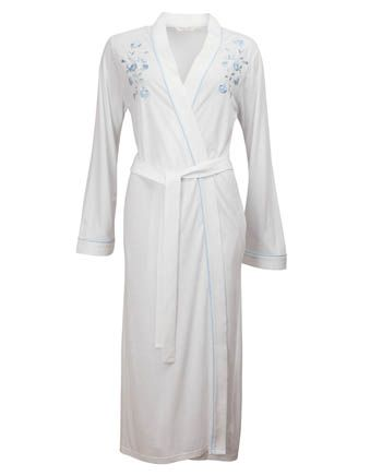 Nora-Rose by cyberjammies White Knit Trailing Embroidery Long Kimono Wrap
