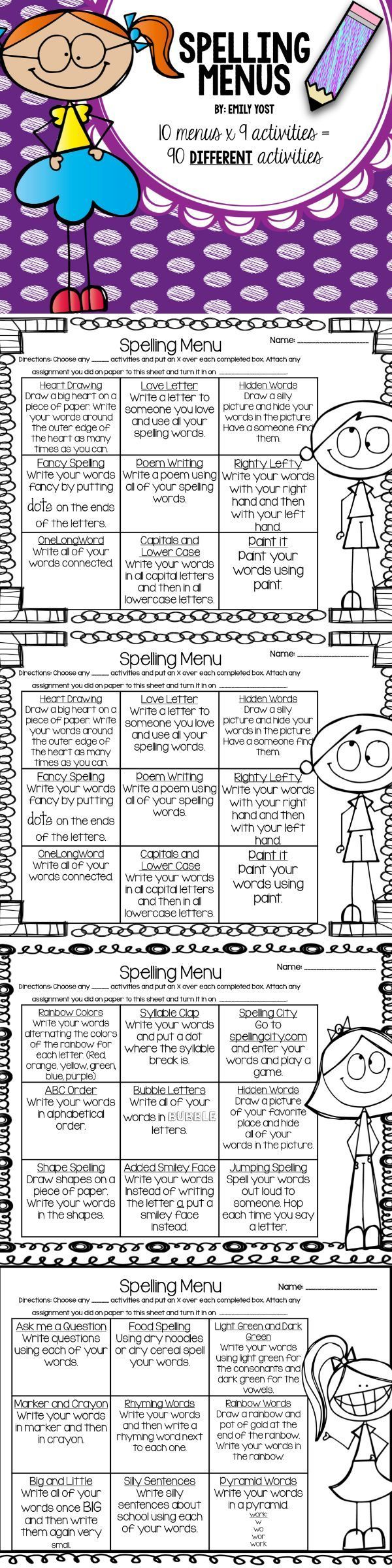 17 best ideas about spelling menu spelling homework spelling menus