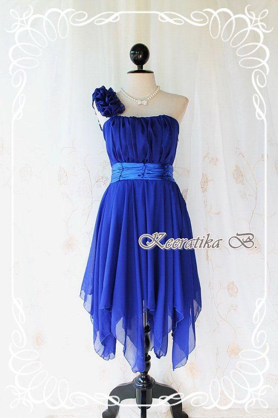 Juliet's Party - Royal Blue Cocktail Dress One Shoulder Strap Pleated Top Asymmetric Sharp Hem Prom Party Wedding Bridesmaid Dress