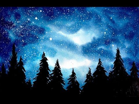 Simple Watercolor Galaxy Forest Painting Tutorial - YouTube