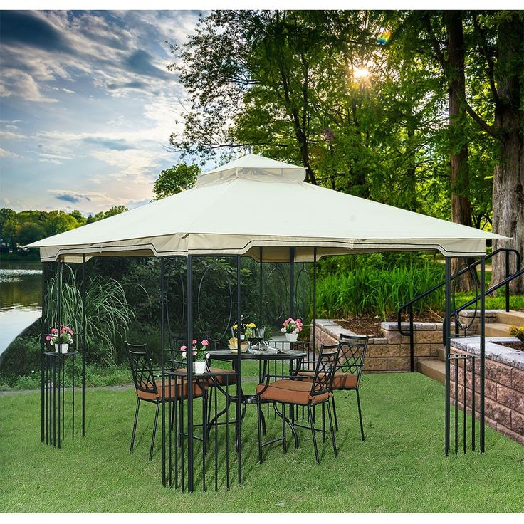 10 X Foot Outdoor Backyard Durable Steel Frame Gazebo With Beige Canopy