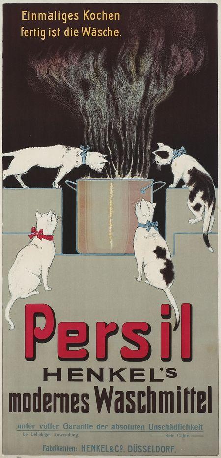 (Das erste Plakat für Persil!) Persil - Henkel's modernes Waschmittel Einmaliges Kochen fertig ist die Wäsche. Henkel & Co., Düsseldorf. Anonymer Entwurf, Deutschland 1907