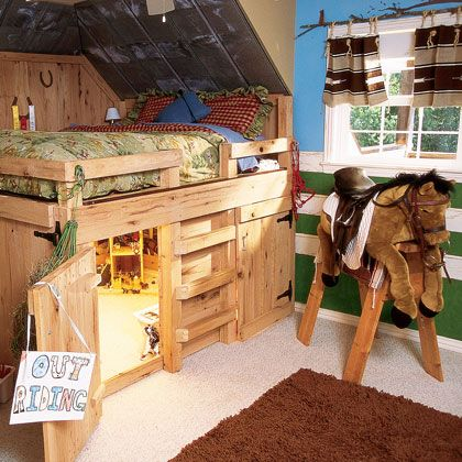fun bed for the cowboy-themed room....love the hidden play space