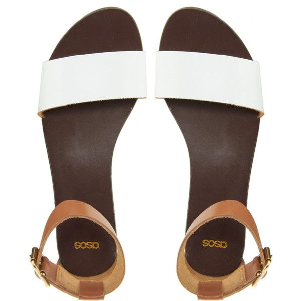 ASOS FLOCK Leather Flat Sandals ($37) ❤ liked on Polyvore