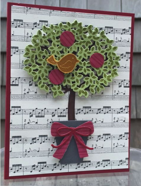 "my version of ""A Partridge in a Pear Tree"" using Stampin' Up!'s Thoughtful Branches and Swirly Bird. http://mailsomethingpretty.com/christmas-in-august/"