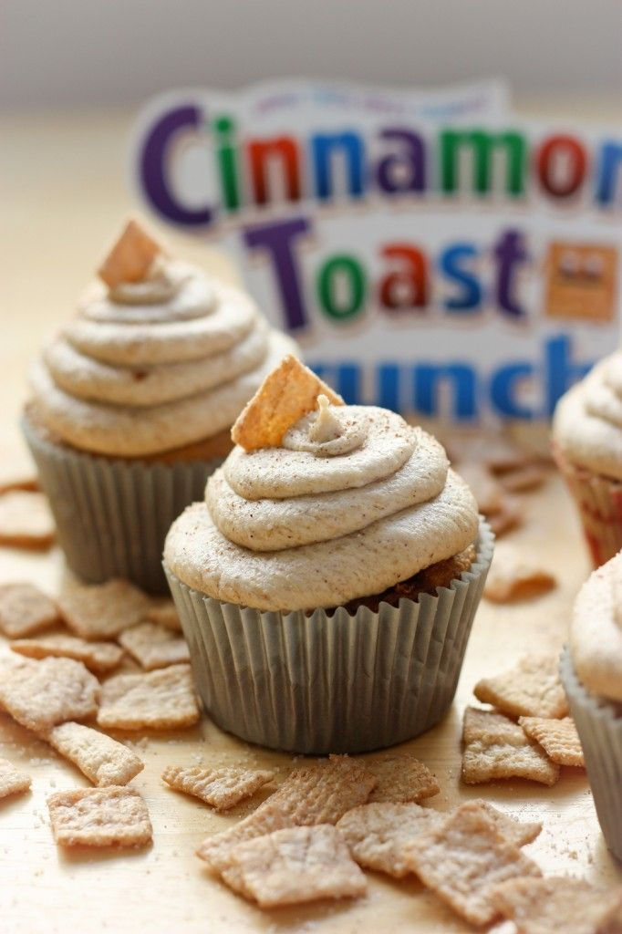 Enjoy this spin on a childhood cereal: Cinnamon Toast Crunch Cupcakes: Desserts, Fun Recipes, Sweet, Crunches, Cupcake Recipe, Food, Crunch Cupcakes, Favorite Cereal, Cinnamon Toast Crunch