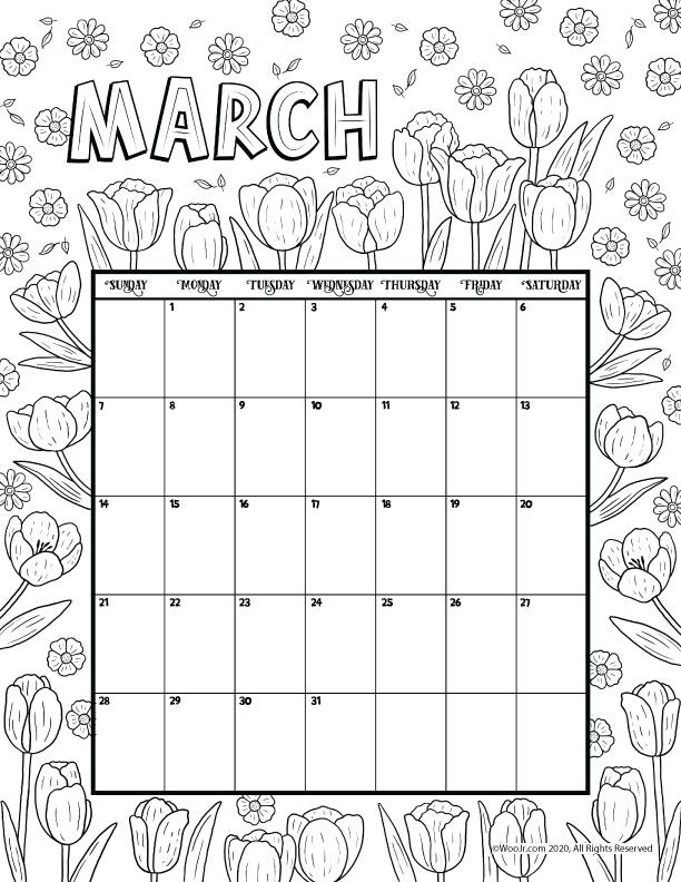 March 2021 Printable Calendar Page Woo Jr Kids Activities Printable Calendar Pages Coloring Calendar Kids Calendar