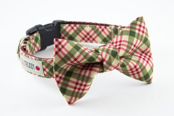 Olive Green Burgundy Plaid Dog Bow Tie Collar - for christmas, obvi
