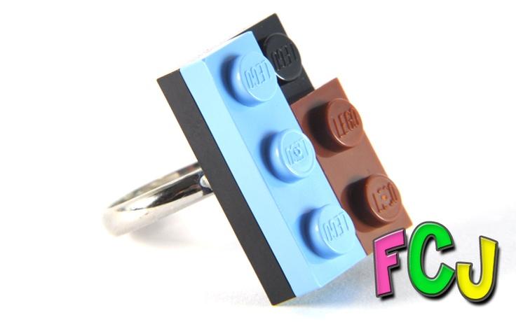 Lego Ring - Black, Light Blue & Brown