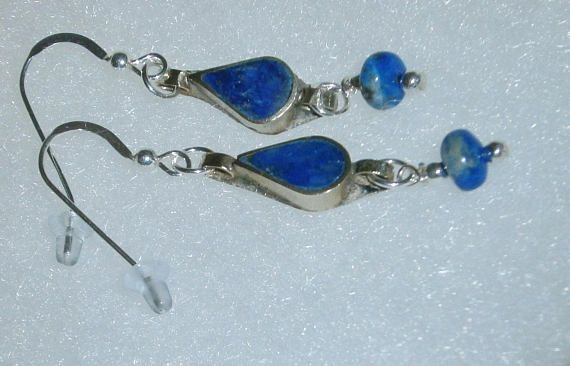 925 Sterling Silver Blue Lapis Lazuli  Dangle  Earrings