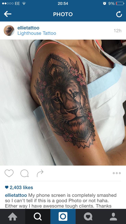 Lion mandala flower tattoo