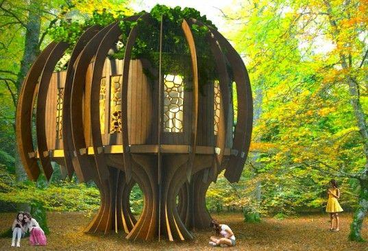 Ispirato dalla forma di un piccolo boschetto di alberi, la struttura è stata pensata per isolare bambini e famiglie dal dannoso rumore cittadino