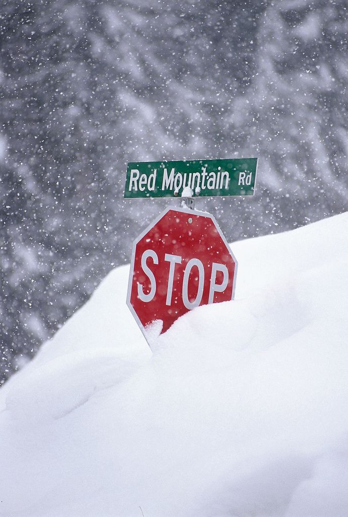Can you say snow?! Road sign on the way to Red Mountain Resort, Rossland, BC, Canada.
