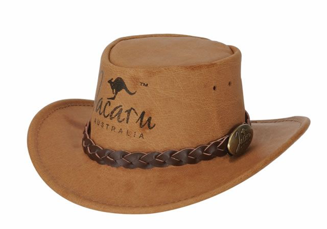1401 Souvenir Hat by Jacaru. Miniature Size, Any Logo can be added. Leather Plaited Hatband and Brass Jacaru Badge.