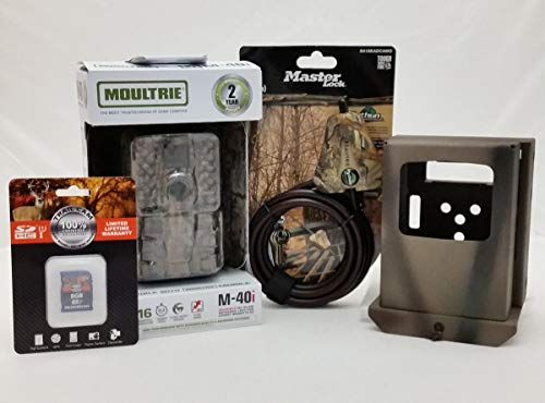 Moultrie M-40i No-Glow IR Trail Camera | Security Box | Python Cable