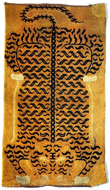 Tibetan tiger rug  19th-century Tibetan tiger rug __ via flickr of giovanni garcia-fenech