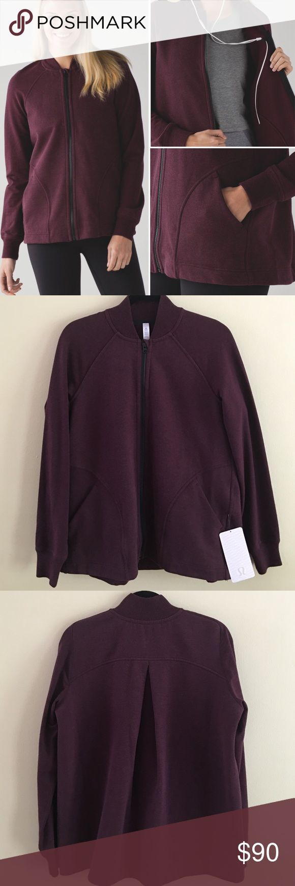 NWT Pleat To Street Bomber Brand new with tag.                                                Lululemon Pleat to street bomber jack Color: Heathered Bordeaux Drama  🚫No Trades 😊 Thank you lululemon athletica Jackets & Coats