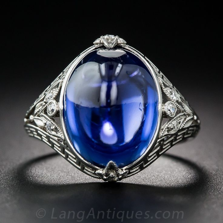 12.50 Carat No-Heat Ceylon Cabochon Sapphire and Diamond Ring