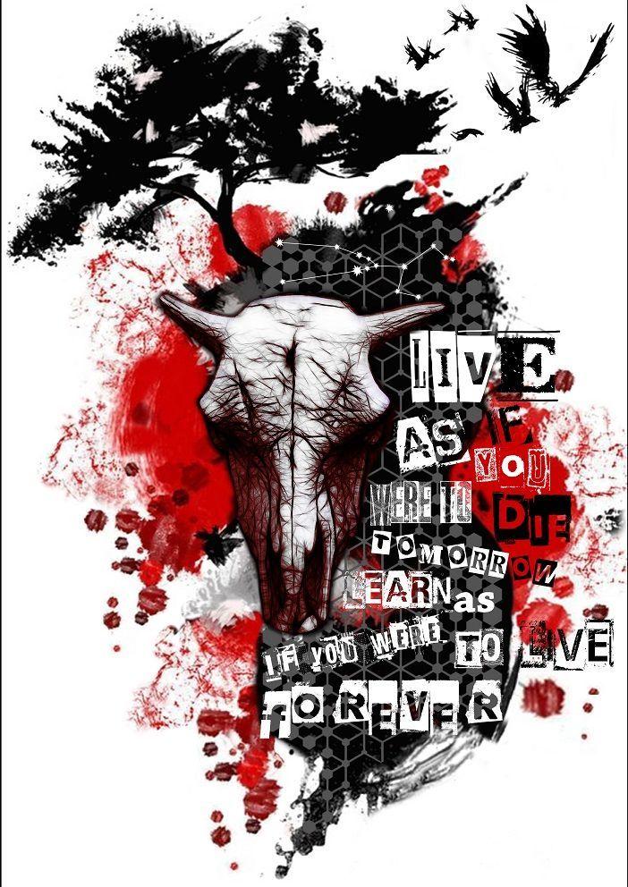 Tree Bull Raven Crow Trash Polka | Trash polka tattoo ...