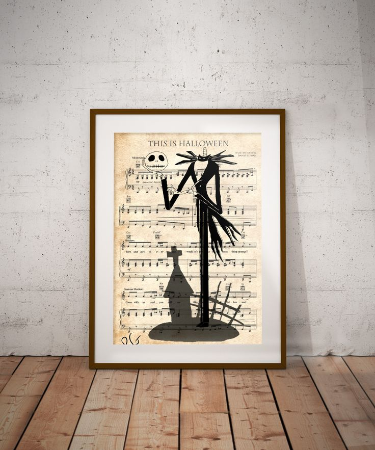 "The Nightmare Before Christmas Jack Skellington ""This is Halloween"" Music page Wall Art Print"