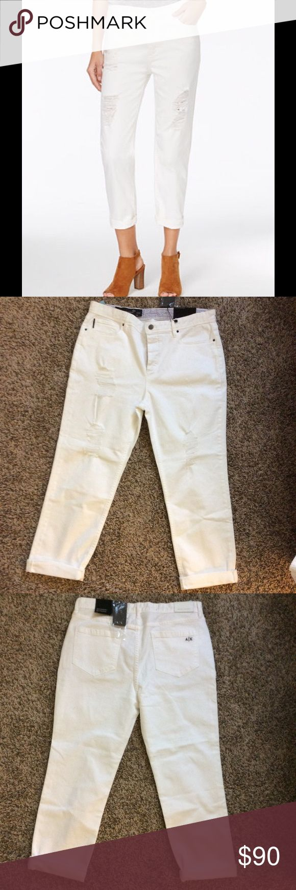 """NWT Armani Exchange Distressed Boyfriend Jeans Comfort meets style in these ripped boyfriend jeans from Armani Exchange. Mid rise, inseam 30"""" up cuffed, cotton/spandex material. A/X Armani Exchange Jeans Boyfriend"""